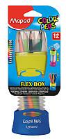 Карандаши цветные, 12 цветов (Maped, COLOR PEPS Flex Box, роздвижной пенал, MP.683212)