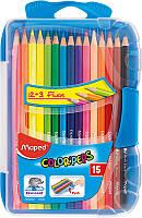 Карандаши цветные, 15 цветов (Maped, COLOR PEPS  Smart Box, пластиковый футляр, MP.832032)