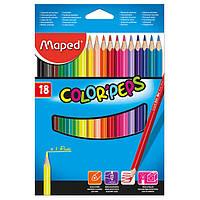 Карандаши цветные 18 цветов Maped COLOR PEPS Classic MP.183218