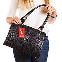 Женский деловой портфель 1336lizard черная сумка лаковая