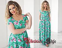 Длинное летнее трикотажное платье с цветочным принтом  48+