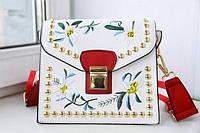 Новинка! Модная женская сумка с вышивкой BALLY Grimoire белого цвета