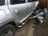 Renault Duster 2008+ гг. Боковые площадки Vison (2 шт., алюминий + нерж)