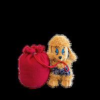 Упаковка новогодняя мягкая игрушка - символ 2018 года Собака Пудель малый с большим мешком, 1000г