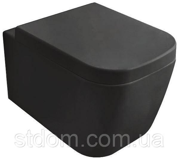 Унитаз подвесной 45х36 Globo Stone SSS03.AR черный матовый