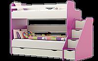 Кровать 2-ярусная с лесницей без перил Принцесса