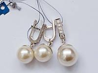 Серебряный комплект украшений с жемчугом, фото 1