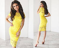 Женское гипюровое платье, материал подкладки - трикотаж, цвет - желтый
