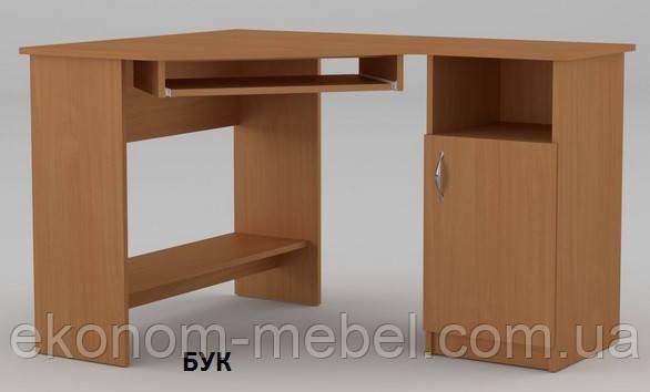 Угловой компьютерный стол СУ-13, ДСП без надстроек, правый, для персонала