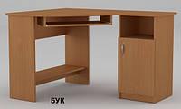 Угловой компьютерный стол СУ-13, ДСП и МДФ, без надстроек, правый, для персонала, фото 1