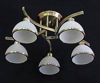 Люстра на 5 лампочек для низких потолков (античная бронза) P3-9300/5C  (AB+WT)