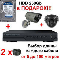 "Комплект видеонаблюдения на 2 камеры + HDD 250Gb в подарок, 800 TVL ""Установи сам"" (DVR KIT 1V1N)"