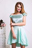 Коктейльное платье из атлас и жаккарда (2 цвета) XS-S, Мята