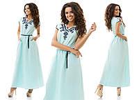 Платье-макси однотонное летнее, приталенное с поясом, с вышивкой шнуром, разные расцветки, стандартные размеры