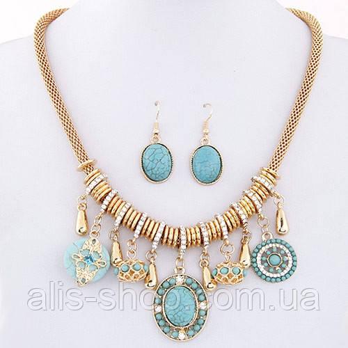 Золотой Комплект из ожерелья и сережек с голубыми камнями