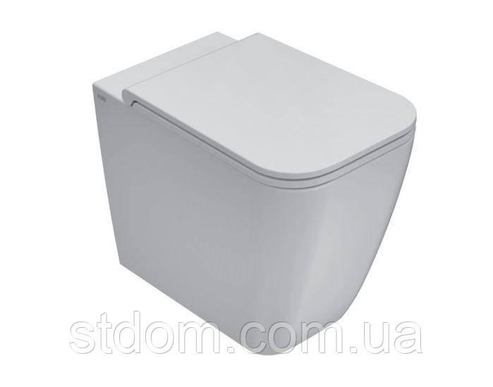 Унитаз напольный пристенный 56х36 Globo Stone ST001.BI белый глянец