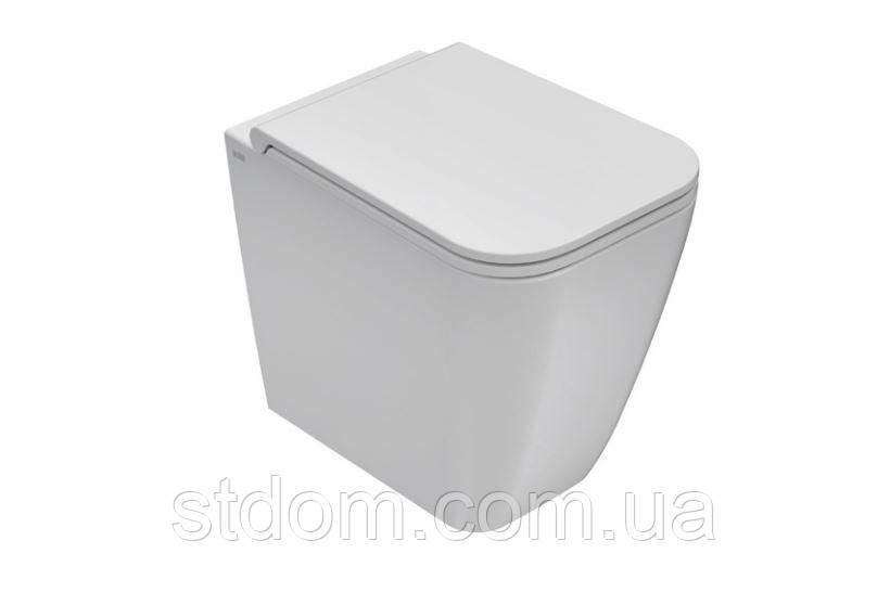 Унитаз напольный пристенный 52х36 Globo Stone ST002.BI белый глянец