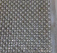 Стразы в цапах на сетке с бусинами, 5 см (10 рядов)х12 см