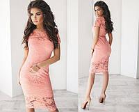 Женское гипюровое платье, материал подкладки - трикотаж, цвет - розовый