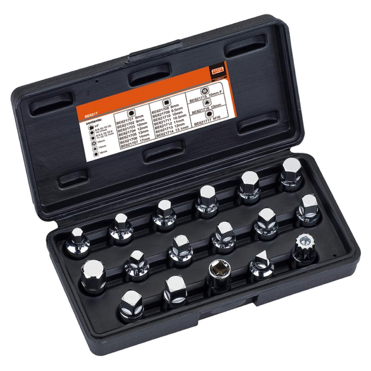 Набор головок для снятия маслосливных пробок, замена масла, 17 шт., BAHCO BE6217