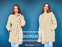 Укороченое кашемировое пальто на запах с поясом