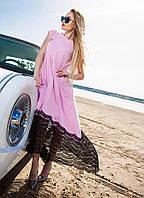 Супер красивое и оригинальное женское платье в пол с кружевом цвета