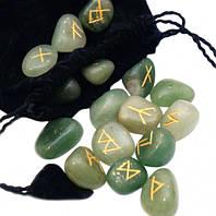 """Руны для гадания каменные """"Зелёный Авантюрин"""""""
