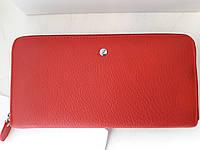 Женский кожаный клатч-кошелек красный