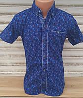 Стильная рубашка(шведка) для мальчика 6-14 лет(опт) (ярко синяя16цв1) (пр. Турция)