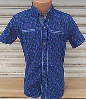 Стильная рубашка(шведка) для мальчика 6-14 лет(опт) (ярко синяя16цв2) (пр. Турция)