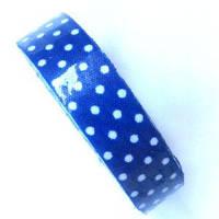 Лента текстильная самоклеющаяся Белый горох на синем, 1.5см х 4м