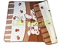 Шерстяное двухстороннее детское одеяло Люкс в сумке 100х140 см, коричневое