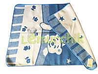 Шерстяное двухстороннее детское одеяло Люкс в сумке 100х140 см, голубое