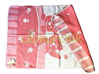 Шерстяное двухстороннее детское одеяло Люкс в сумке 100х140 см, розовое
