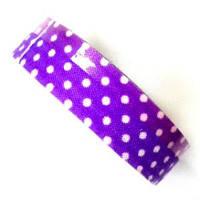 Лента текстильная самоклеющаяся Белый горох на фиолетовом, 1.5см х 4м