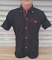 Стильная рубашка(шведка) для мальчика 6-14 лет(опт) (темно синяя16/б) (пр. Турция)