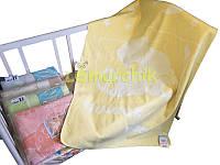 Теплое байковое одеяло 100% хлопок, желтое