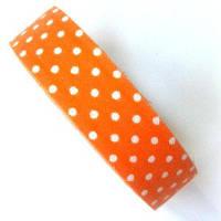 Лента текстильная самоклеющаяся Белый горох на оранжевом, 1.5см х 4м