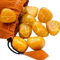 """Руны для гадания каменные """"Жёлтый Оникс"""" в мешочке"""