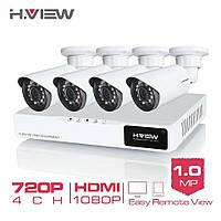 Система видеонаблюдения H. View 4CH 720P. В наличии!