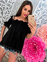 Женская котоновая блузка с кружевом