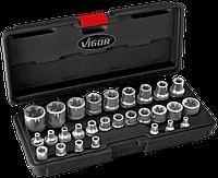 """Универсальный набор головок 1/4"""",3/8"""",1/2""""E-TORX в пластиковом чемодане, 28пр. , VIGOR, V2687"""