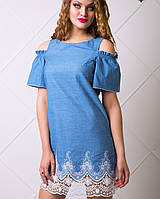 Женское джинсовое платье с кружевом (Ждана lzn)