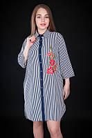 Полосатое платье - рубашка с цветочным принтом