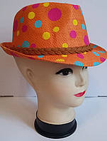 Яркая детская модная шляпа в горошек
