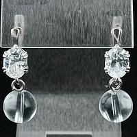 Горный хрусталь, серебро, серьги, 135СРГ