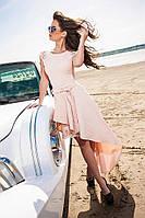 Изумительное нарядное  платье со шлейфом и  перфорацией бежевое