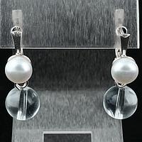 Горный хрусталь и жемчуг, серебро, серьги, 136СРГ