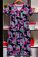 Женский хлопковый халат на молнии с поясом больших размеров р.52,54,56,58,60