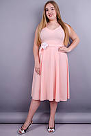 Лилия. Нарядное платье больших размеров. Персик.